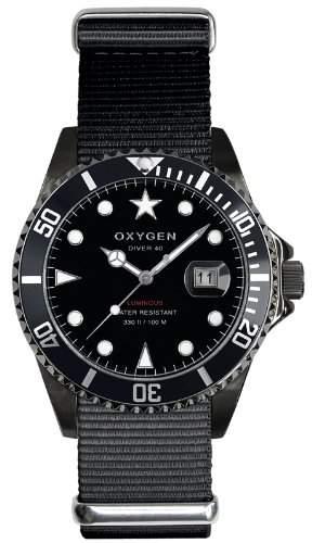 Oxygen Unisex-Armbanduhr Moby Dick Black 40 Analog Quarz Nylon EX-D-MBB-40-BL