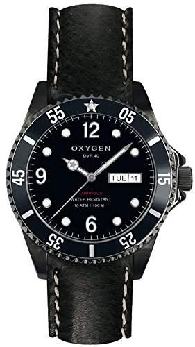 Oxygen Moby Dick schwarz 40 Damen Quarz-Uhr mit schwarzem Zifferblatt Analog-Anzeige und schwarzem Lederarmband EX-D-MBB - 40 CL-BL