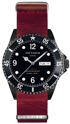 Oxygen Moby Dick schwarz 40 Herren Quarzuhr mit schwarzem Zifferblatt Analog-Anzeige und Lederband EX-D-MBB - 40-NL-RE