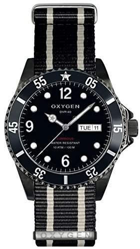 Oxygen Moby Dick schwarz 40 Herren Quarzuhr mit schwarzem Zifferblatt Analog-Anzeige und schwarzem Nylon-Gurt-D-MBB-EX NN-BLIVBL - 40