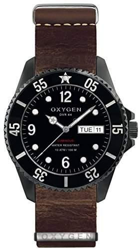 Oxygen Moby Dick schwarz 44 Herren Quarzuhr mit schwarzem Zifferblatt Analog-Anzeige und braunem Lederband EX-D-MBB-NL - 44 DB