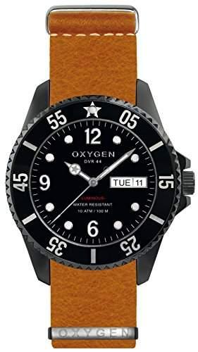 Oxygen Moby Dick schwarz 44 Herren Quarzuhr mit schwarzem Zifferblatt Analog-Anzeige und-Orange Lederarmband EX-D-MBB - 44, NL, oder