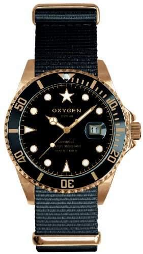 Oxygen Unisex-Armbanduhr Gold Mine 40 Analog Quarz Nylon EX-D-MIN-40-NN-BL