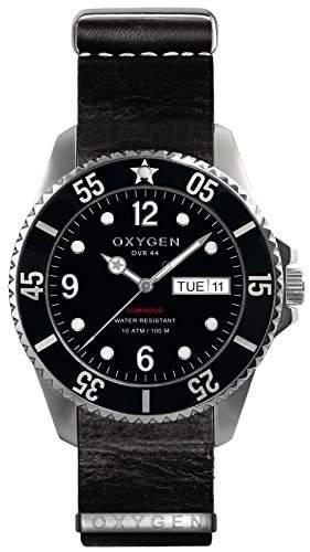 Oxygen Moby Dick 44 Herren Quarzuhr mit schwarzem Zifferblatt Analog-Anzeige und schwarzem Lederarmband D-MOB EX - 44-NL-BL