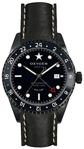 Oxygen Zebra 42 Herren Quarzuhr mit schwarzem Zifferblatt Analog-Anzeige und schwarzem Lederarmband EX-DT-ZEB - 42-CL-BL