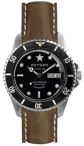 Oxygen Cigar 42 Herren Quarzuhr mit schwarzem Zifferblatt Analog-Anzeige und braunem Lederband EX-DV-CIG - 42-CL-Vb