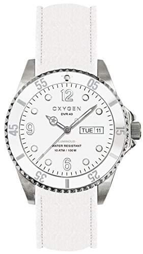 Oxygen-weisser Baer 40 Unisex-Quarz-Uhr mit weissem Zifferblatt Analog-Anzeige und weisse Lederband EX-D-WHI - 40 CL-WH