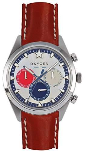 Oxygen Long Island 40Herren Quarzuhr mit weissem Zifferblatt Analog-Anzeige und rotem Lederband ex-sdt-lon-40-cl-re