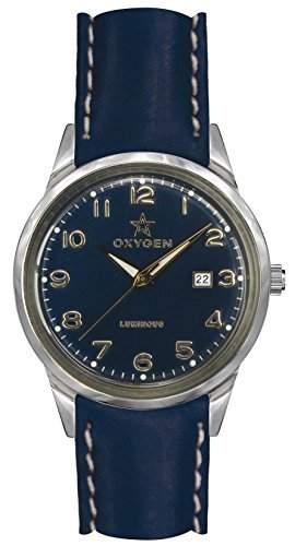 OXYGEN-EX-SV-EVN, 40 CL-NA-Armbanduhr Quarz analog Leder Blau