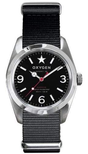 Oxygen Unisex-Armbanduhr Washington 38 Analog Quarz Nylon EX-S-WAS-38-BL