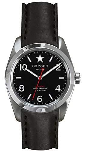 OXYGEN unisex-Armbanduhr Washington 38 Analog Quarz Leder EX-S-WAS-38-CL-BL