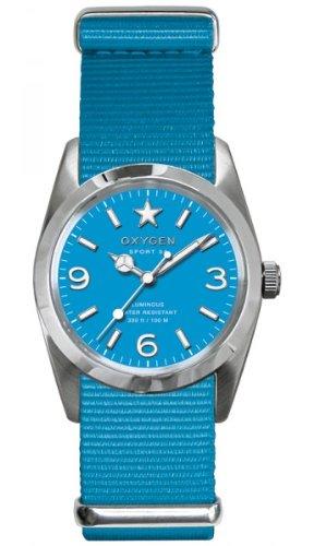 Oxygen ex s dea 34 tu Sport Armbanduhr Quarz Analog Zifferblatt Blau Armband Nylon blau