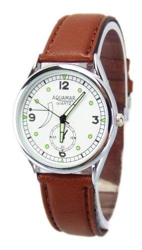 elegante silvolle Armbanduhr schlichte klassischer Zeitmesser mit Lederarmband in Braun U45 12