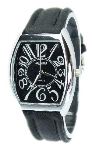 Elegante Armbanduhr stilvolle schlichter Zeitmesser Klassische Uhren mit Lederarmband Chrono Look in Schwarz Q4
