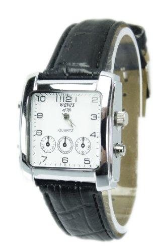 Elegante Armbanduhr stilvolle schlichter Zeitmesser Klassische Uhren mit Lederarmband Chrono Look in Schwarz Q40