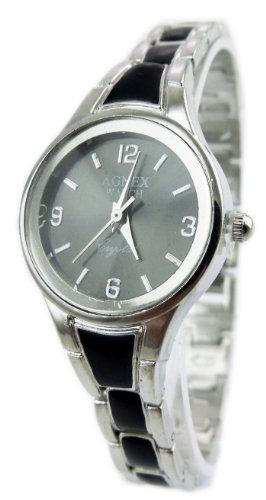 Damenuhr Designer Uhr Metall Armband Uhr edle Armbanduhr in Silber Absolutes Designer Stueck SCHWARZ 28 9