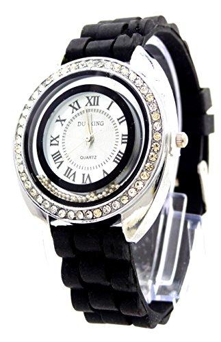 edle mit Strass Designer Armbanduhr hochwertige Sportuhr Lady Watch Dunking schwarz U85 4