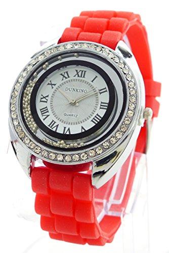 Damenuhr Strass Glamour Designer Lady Watch Armbanduhr Damen Uhr Lady Watch Dunking RED
