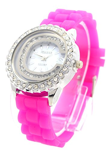 Damenuhr mit Strass edle Armbanduhr Designer Armband Uhr PINK Lady Watch Roman Pink
