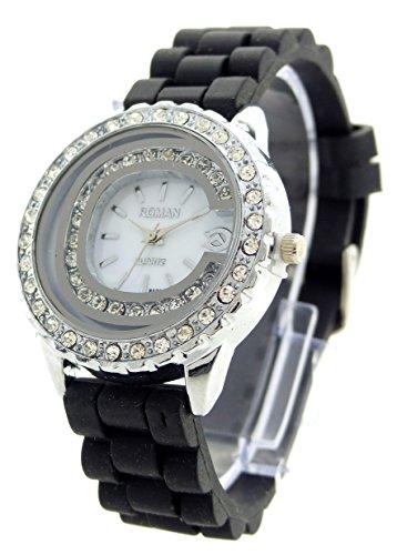 edle Damenuhr mit Strass Designer Armbanduhr hochwertige Damen Uhr Lady Watch Roman Black