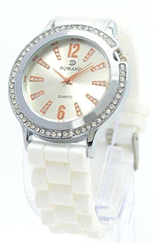 Damen Designer Armbanduhr mit Strassbesatz im edlen Design Trendit Time White