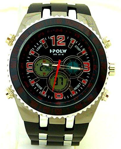 Designer Sport Uhr der Extra Klasse IPOLW Digital Analoge Anzeige 30m Wasserdicht