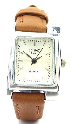 elegant schlichte mini Armbanduhr Armband Uhr mit Lederarmband in Braun Ox3