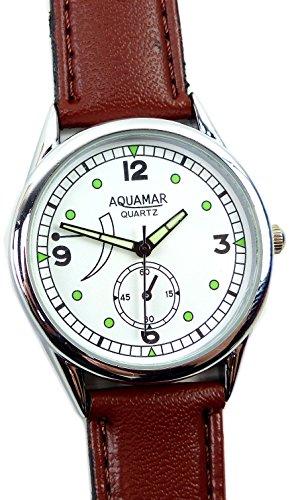 elegant schlichte und klassische Armband Uhr mit Lederarmband in braun UOx1