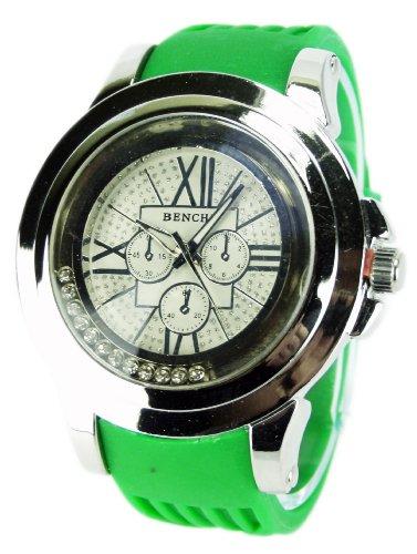 elegante Armbanduhr mit Kautschuk Armband BENCHI GREEN