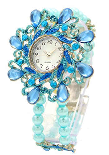 elegante Damenuhr Perlen Damenuhr Designer Schmuck alle Groessen mit flexiblem Armband Flower Pearl tuerkis U84 2
