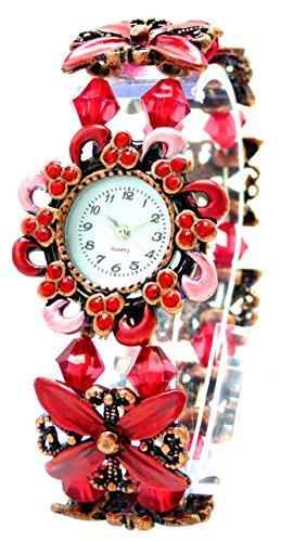 elegante Damenuhr Perlen Damenuhr Designer Schmuck alle Groessen mit flexiblem Armband Flower Pearl red U84 2
