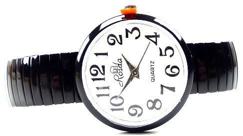 elegante und klassische Armbanduhr weiss mit Flex Stahlarmband XL SCHWARZ