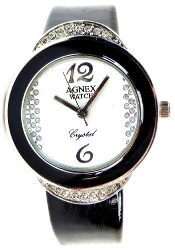 hochwertige Damenuhr mit elegantem Strassbesatz Armbanduhr Damen Uhren Armband Uhr Agnex Black