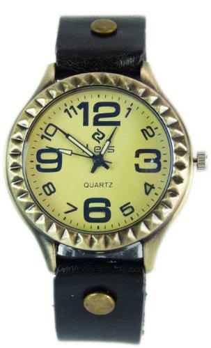 hochwertige Lederarmband Uhr echtLeder Damenuhr SCHWARZ