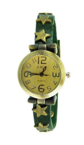 hochwertige Lederarmband Uhr echt Leder Damenuhr SCHWARZ STERN