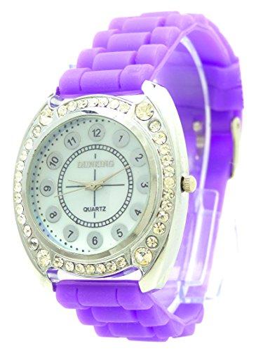 hochwertige Sportuhr mit Strass edle Damenuhr Designer Glamour Armbanduhr Damen Uhr Lady Watch DK lila Strass