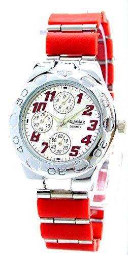Rallye Red elegante klassische Metall Armbanduhr fuer Sie und Ihn Ox22
