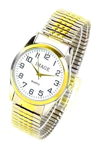 elegante Armbanduhr klassische Flexarmband Uhr edle Herren und Damen Uhr mit Datum und Flex Stahlarmband WEISS SILBER GOLD U79-3