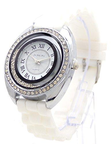 Trendit mit Strass tolle Designer Uhr weiss Armbanduhr Lady Watch Dunking White Star