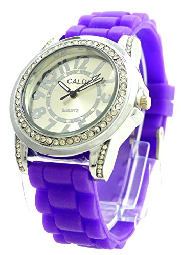 Trendit Strass Damenuhr Designer Armbanduhr edle Damen Uhr Lady Watch Caldi Lila