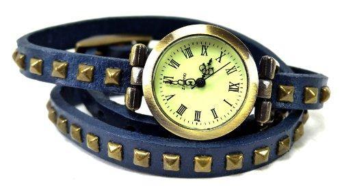 Wickelarmbanduhr Wickel Armband Uhr Leder blau mit Nieten U6 X