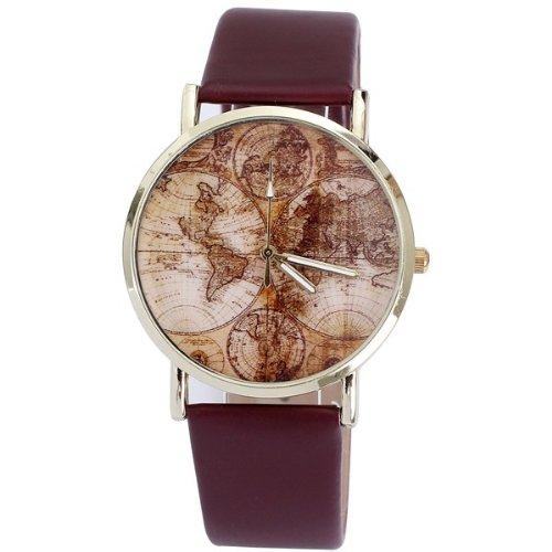 AplusWatch w15781 Armbanduhr Damen Armband aus Gummi Farbe Braun