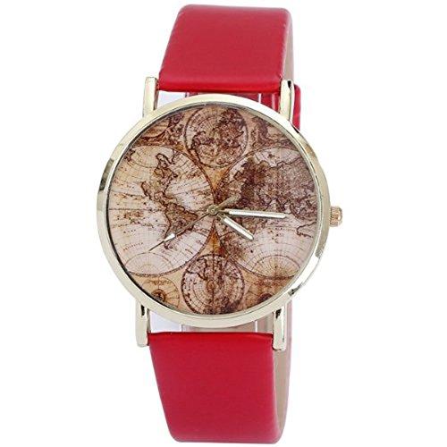 AplusWatch w15782 Armbanduhr Damen Armband aus Gummi Farbe rot