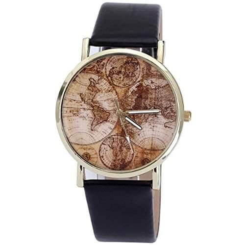 Welt Erde Karte Stil Frauen Stunde Casual Lederband Uhren Marke Quarz Rotgold vergoldet Uhren