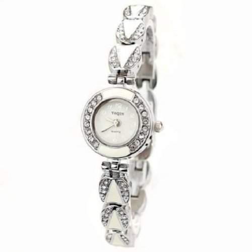 Neuer Frauen-Lady Popular Fashion Design-Blumen-Diamant-Armband-Uhr Zeit Quartz Weiss