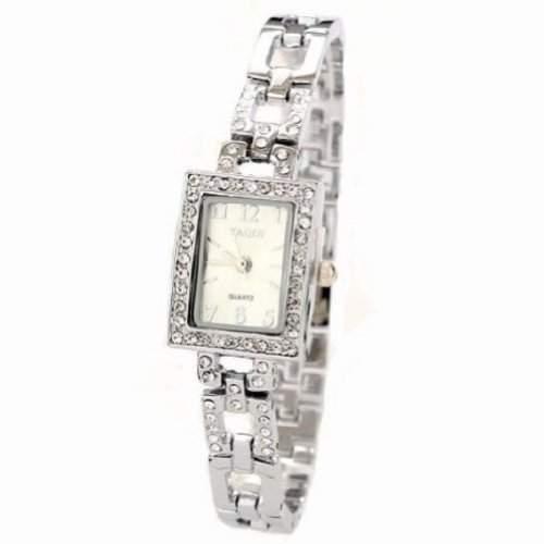 Stilvolle Square-Kristallfrauen-Uhr-Dame-Partei Kleid-Armband-Armband-Uhren