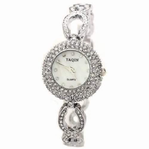 Uhren Damen Fashion Rose Gold Luxury white-Charme-Armband-Ketterhinestone