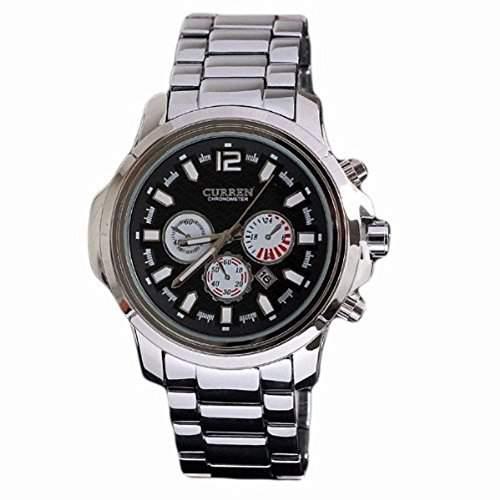 Neueste Herren Mode Uhren Marke large Vorwahlknopf-Quarz-analoge Uhr aus Edelstahl