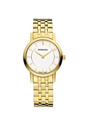 RODANIA Swiss Elios Damen Quarzuhr mit weissem Zifferblatt Analog-Anzeige und Gold Armband Edelstahl vergoldet rs2504660