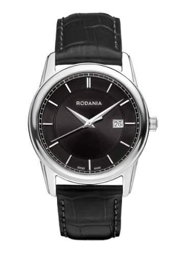 RODANIA Swiss Celso Herren-Quarzuhr mit schwarzem Zifferblatt Analog-Anzeige und Lederband schwarz RS2507326